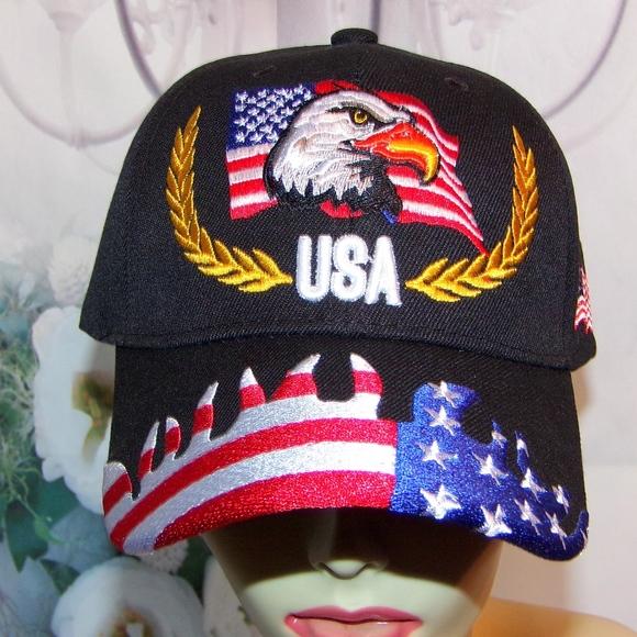 23896a2e59e USA Eagle Hat American Flag 3D Like Patriotic Hat